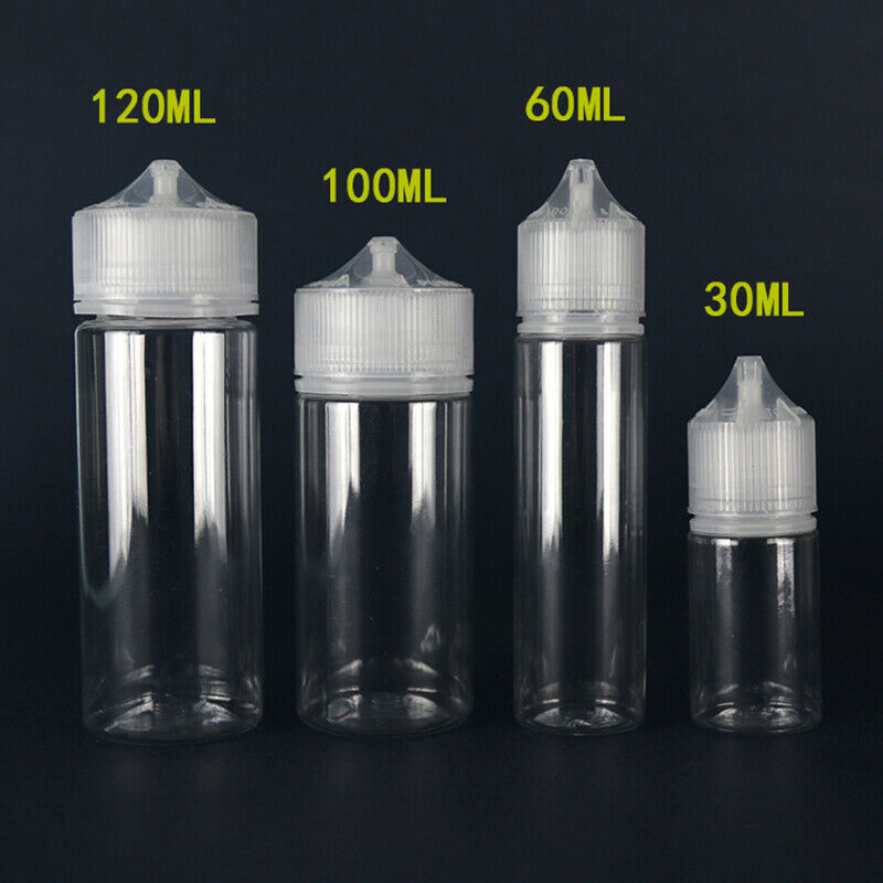 New 5pcs 30ml/60ml/100ml/120ml PET Plastic Empty Dropper E Liquid Eye Clear Water Bottles Long Tip Cap Juice Oil Vape Pen Bottle