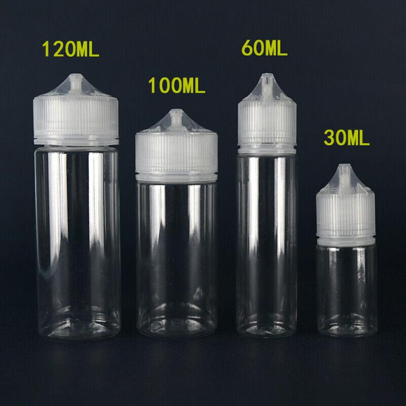 New 5pcs 30ml/60ml/100ml/120ml PET Plastic Empty Dropper E Liquid Eye Clear Water Bottles Long Tip Cap juice Oil Vape Pen Bottle-in Refillable Bottles from Beauty & Health