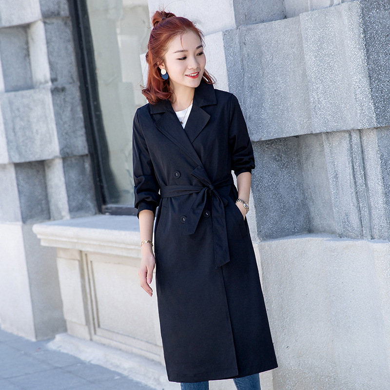 2019 New Spring Summer Long   Trench   Coats Women Korean Loose waist Casual Temperament Long-sleeved Windbreaker Tops N786