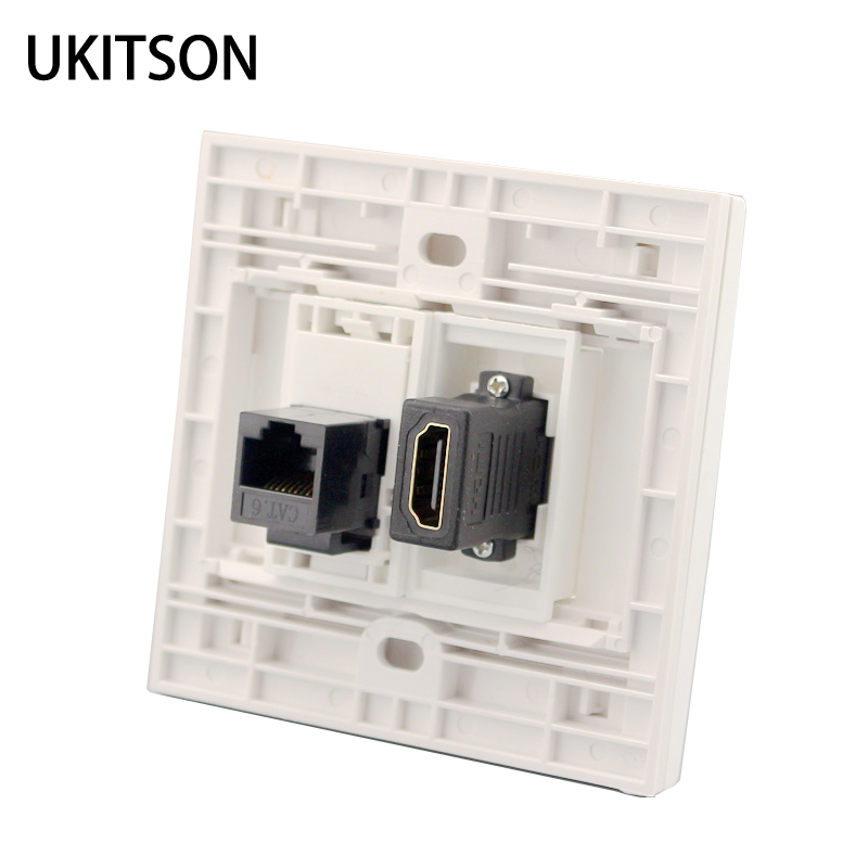 White Color HDMI With CAT6 RJ45 Female To Female Wall Panel Network Extender