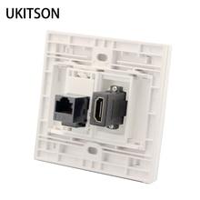 สีขาวสี HDMI CAT6 RJ45 หญิงหญิงแผงเครือข่าย Extender
