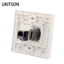 الأبيض اللون HDMI مع CAT6 RJ45 الإناث إلى الإناث ألواح للحائط شبكة موسع