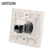 Weiß Farbe HDMI Mit CAT6 RJ45 Weibliche Zu Weiblichen Wand Panel Netzwerk Extender