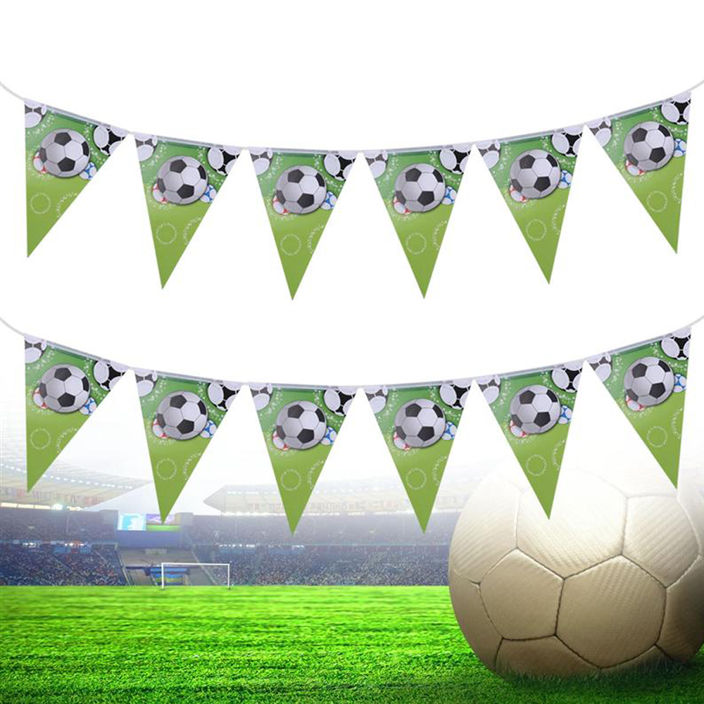 2019 New Soccer Birthday Decorations Party Supplies Sporty Football Flags Theme Bunting Banners Garland Set (Green)