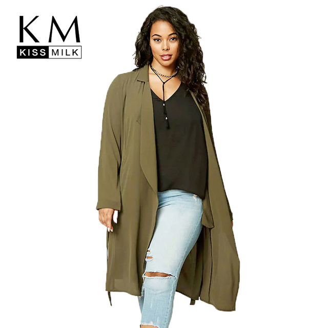 Kissmilk женщины плюс размер регулируемый поясной ремень пальто с длинными рукавами с лацканами основные пиджаки больших размеров повседневные пальто 3XL 7XL