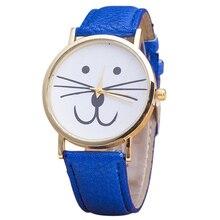 vogue Cat Beard face dial quartz leather-based Wrist Watch Blue