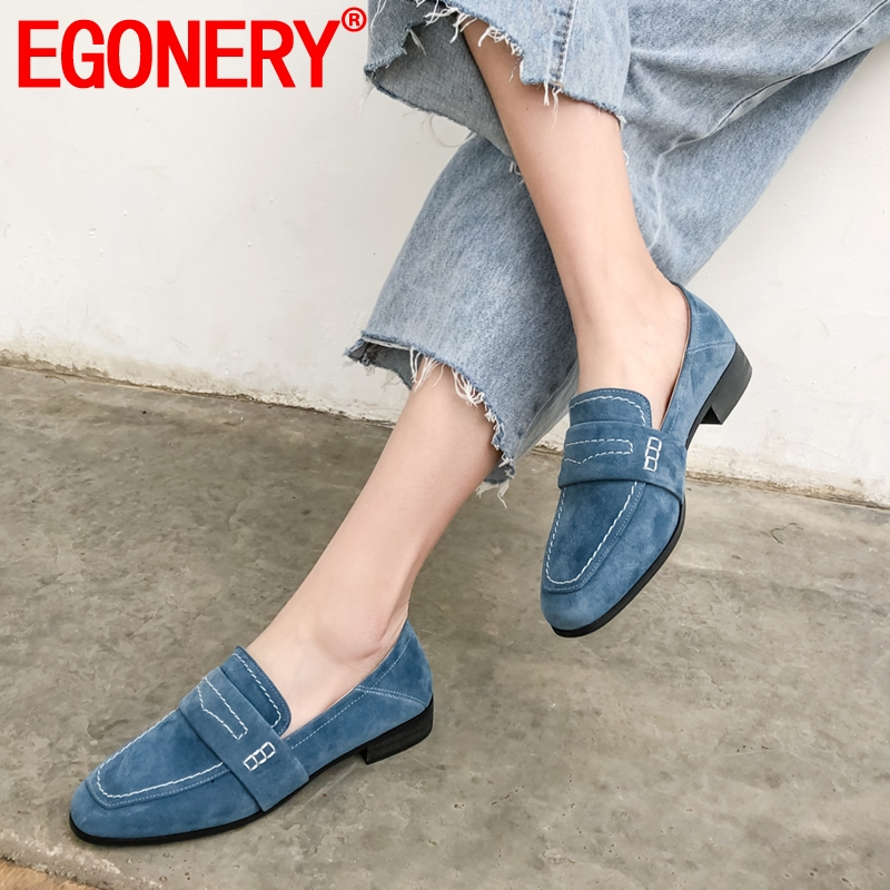 EGONERY Woman Leather Loafers Spring High Quality Brand Girl Casual Soft Office Flats Blue Black Brown Round Toe Boat Shoes