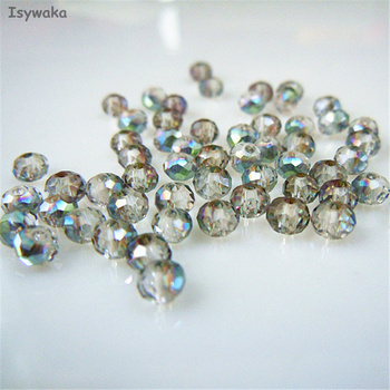 Isywaka Hot Light Green Colors Rondelle Austria faceted Crystal Glass Loose Spacer Round Beads Jewelry Making