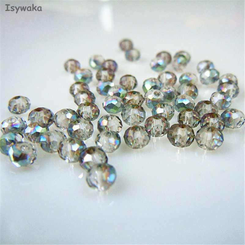 Isywaka Hot Light Green Colors 3*4mm 145pcs Rondelle Austria faceted Crystal Glass Beads Loose Spacer Round Beads Jewelry Making