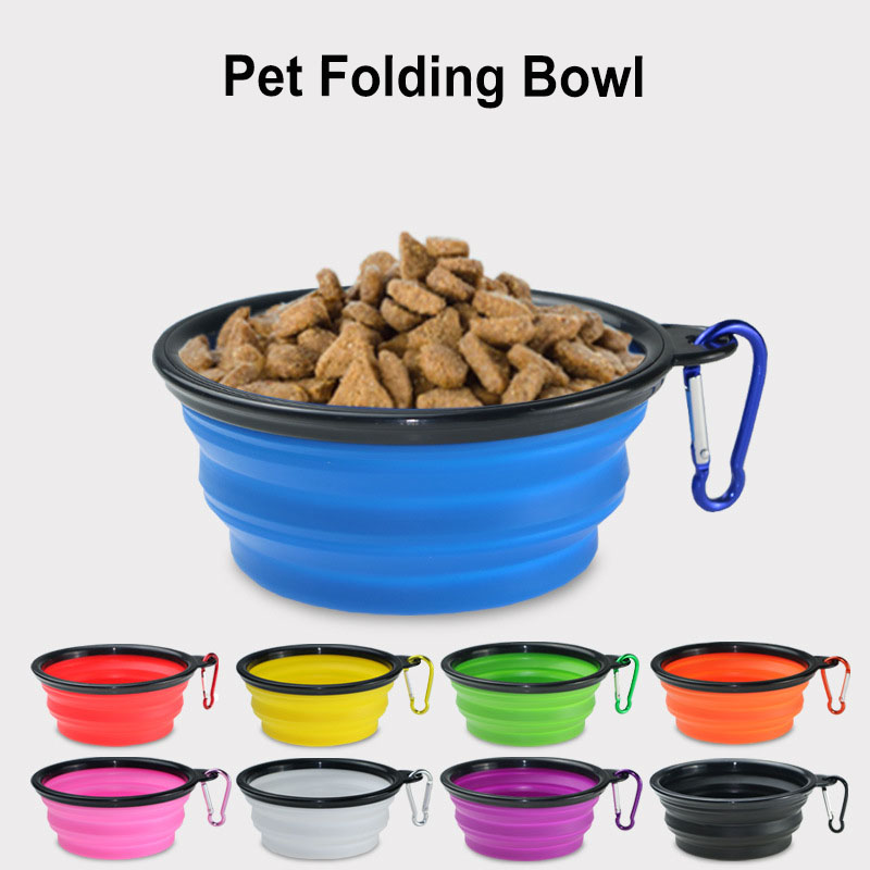 Pet Soft Bowl Foldable Expandable Dogs Cats Water Food Bowl Portable Travel Dish For Pet Dog Water Cat Feeding