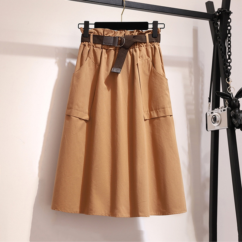 Surmiitro Midi Knee Length Summer Skirt Women With Belt 19 Spring Casual Cotton Solid High Waist Sun School Skirt Female 12