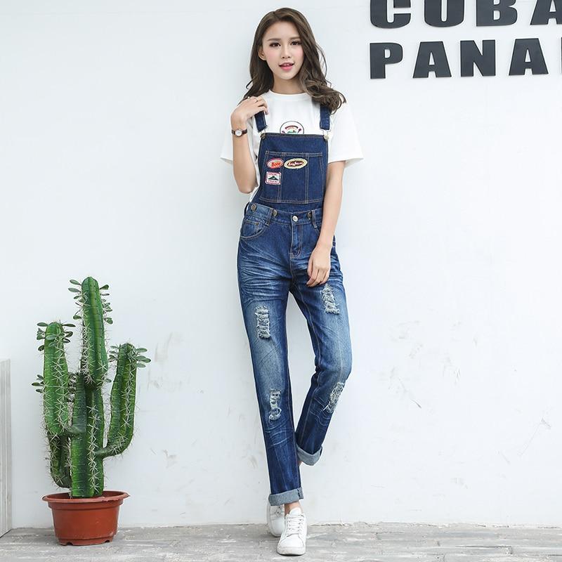 Frühling Mode Zerrissenen Jeans Overalls Damen Mädchen lange Hosen ...