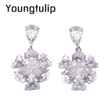 Young tulip AAA Cubic Zircon Flower Clip Earrings Without Piercing Women