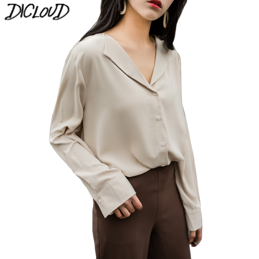 2fd2811d643 2018 Vintage Women Chiffon blouse button Lapel long sleeve shirts ladies  office work elegant female Top high quality Blouse-in Blouses   Shirts from  Women s ...