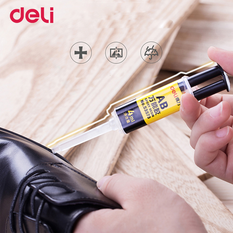 Deli 4ml quality 2 minutes curing super liquid AB <font><b>glue</b></font> for office home supply glass metal rubber waterproof strong adhesive <font><b>glue</b></font>