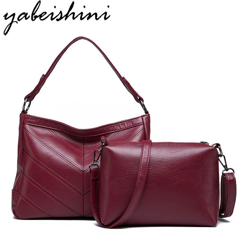 Yabeishini Brand 2PC/Set Fashion Women Bags Pu Leather High Quality Crossbody For Messenger Bag Female Tote 2018