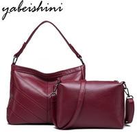 Yabeishini Brand 2PC/Set Fashion Women Bags Pu Leather High Quality Crossbody Bags For Women Messenger Bag Female Tote Bag 2018