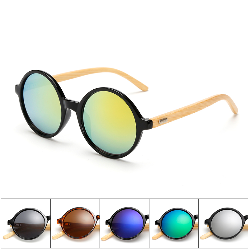 2017 New Vintage Round Bamboo Polarized Lennon Sunglasses for women in Wood Box Customized Logo Available