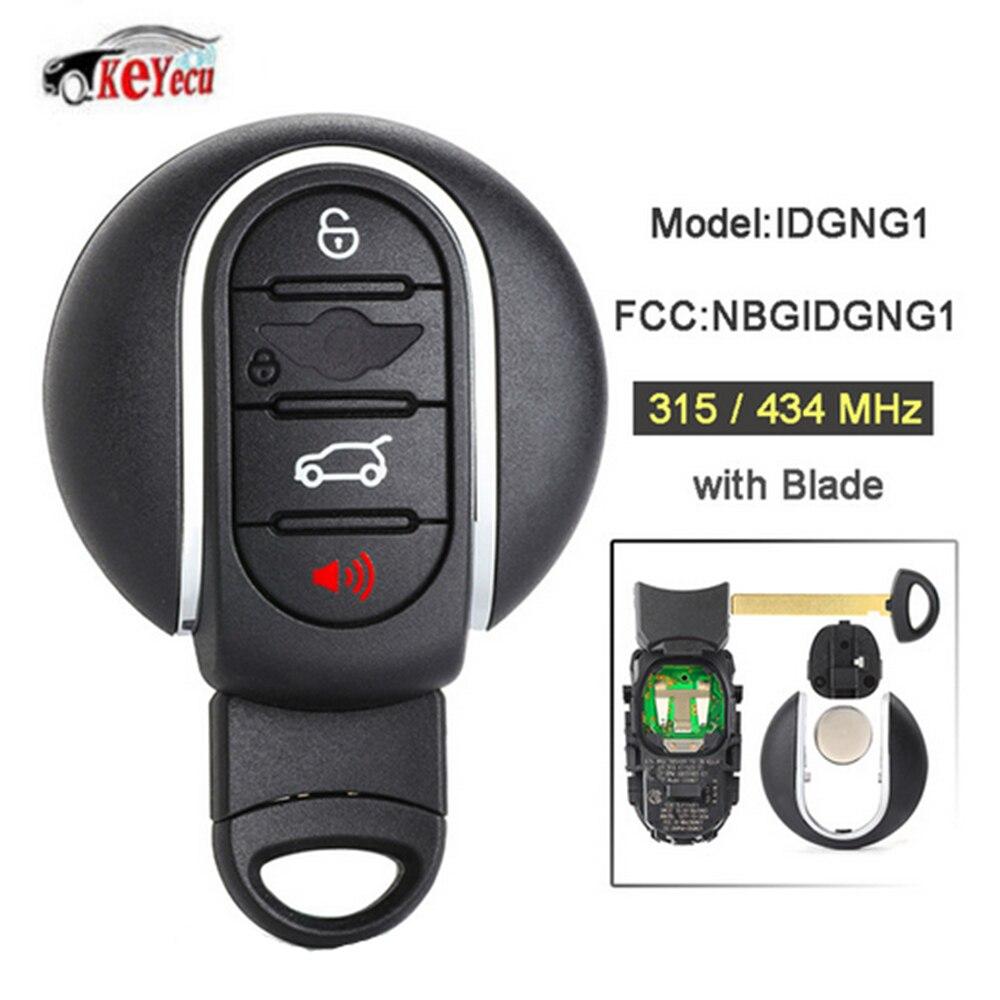 Clé de voiture à distance intelligente KEYECU 315 MHz/434 MHz 4 boutons pour BMW Mini Cooper 2015-2018 avec lame de clé de secours FCC ID: NBGIDGNG1
