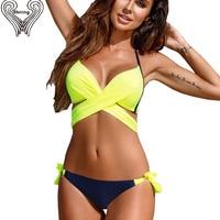 Plus Size Halter Wrap Bikini Push Up Swimwear Bathing Suits Bandage Bikinis Set 2018 New Print