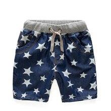 Новые летние джинсы для мальчиков, короткая хлопковая одежда для детей, детские шорты, штаны, стиль со звездами