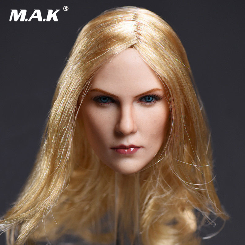 1:6 Scale Blonde Hair Charlize Theron Head Carving Handmade Female Head Model for 12 inches Action Figure 55 hanks white stallion violin bow hair 6 grams each hank in 32 inches