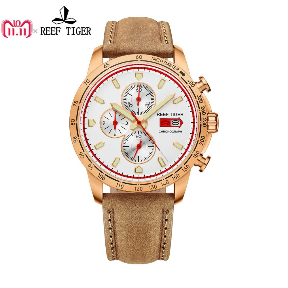 Reef Tiger/RT Sport Watch for Men Chronograph Quartz Watches with Date Rose Gold Watch with Luminous Markers RGA3029 цена в Москве и Питере