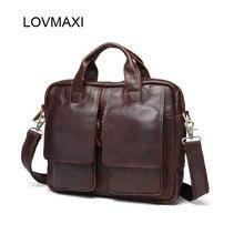 LOVMAXI Vintage Crazy Horse Genuine Leather Men's handbags Brand Design bags Causal Shoulder Messenger Bags Travel Crossbody Bag