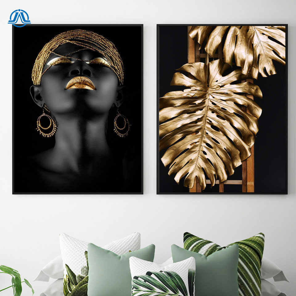 Black woman Model Posters Prints Golden Monstera Lips Cuadros Decoracion Abstract Wall Art Pictures For Living Room Modern Decor