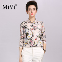 MIVI 100% Silk Women Shirt 2017 Summer Spring Tops Fashion Floral Print Long Sleeve Shirts OL Style Real Silk Blouses Mujer