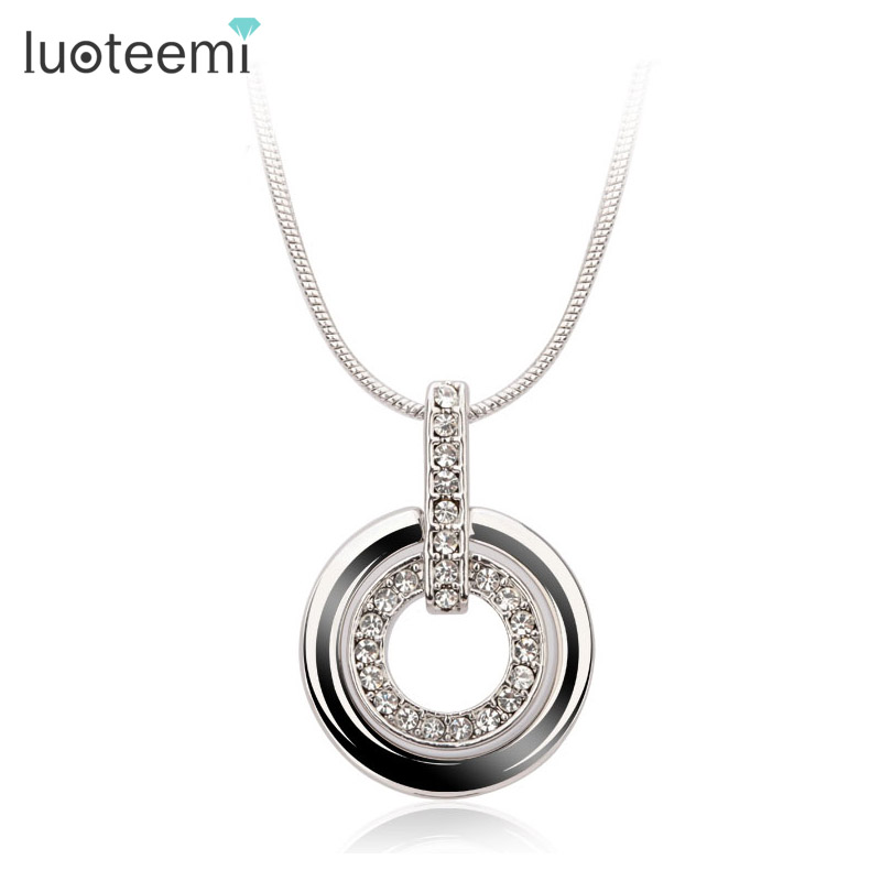 LUOTEEMI Fashion Double Loop Rhinestone Pendant Necklace Chas