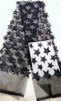 Trasporto libero 2018 di Alta Qualità Del Fiore Del Merletto di taglio 3d Tessuto di Pizzo Africano Per La Cerimonia Nuziale Graziosa Francese Tulle Tessuto di Pizzo nero