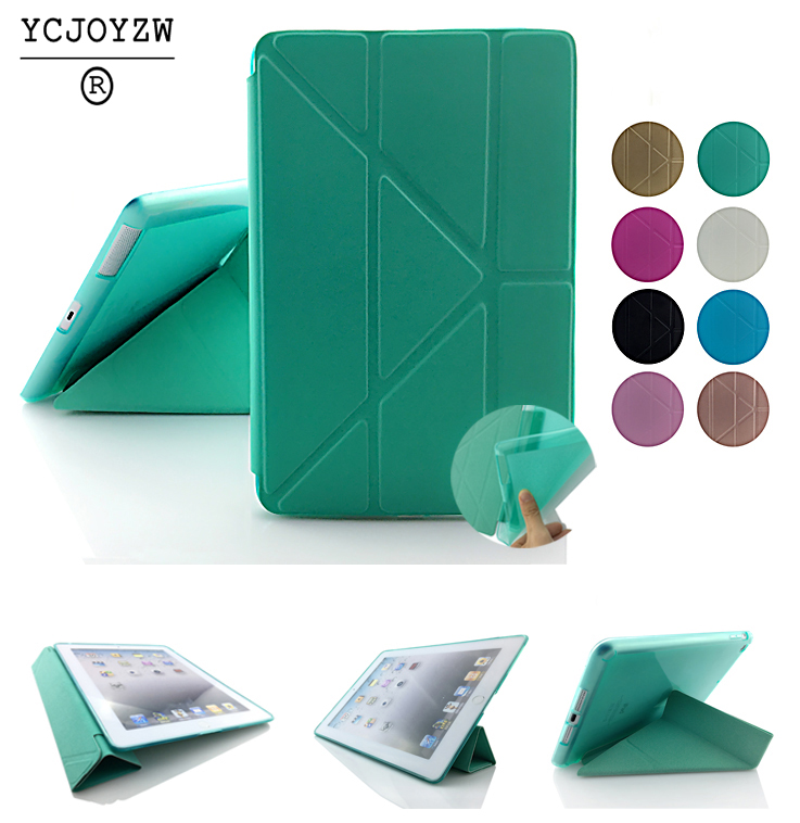 YCJOYZW-TPU Tampa Da Caixa Inteligente Para iPad mini Da Apple 4 ou para o Ar ipad 2 despertar do sono, Ultra Slim Tablet Designer Capa de Couro PU