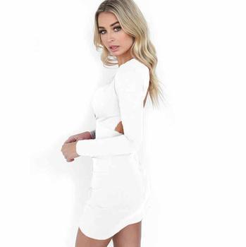2019 Fashion Women Dress Solid Color V-neck for summer 1