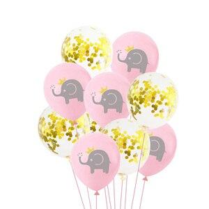 Image 3 - 10 Pcs 12 inch Cartoon Latex Ballonnen Kinderen Verjaardagsfeestje Decoratie Blauw Roze Olifant Baby Shower Ballonnen Decoraties Favor