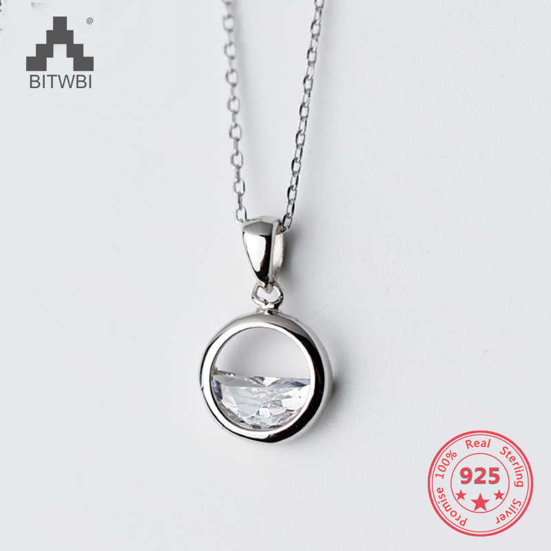 Authentic 100% 925 Silverr Necklace Pendant  Woman Natural Diamond Fashion Simple Art Small Fresh Clavicle Chain Gift