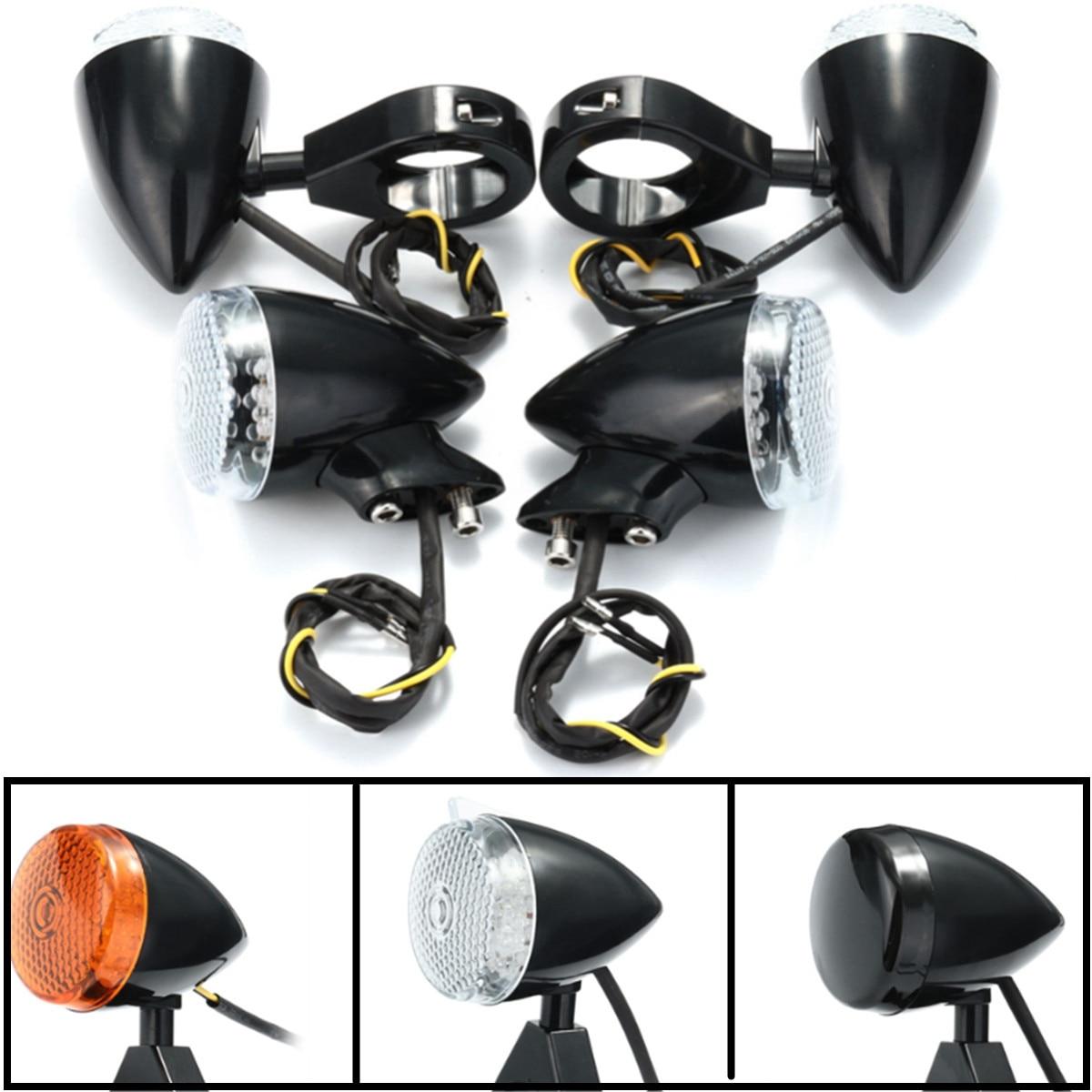 4pcs Motorcycle LED Turn Signal Light Indicator Lamps Front Rear 41mm Fork Clamp For Harley Davidson Cafe Racer