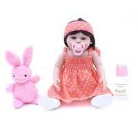 New arrival 45cm full silcione lifelike newborn baby girl with pink plush rabbit and lovely clothes silicone baby reborn dolls