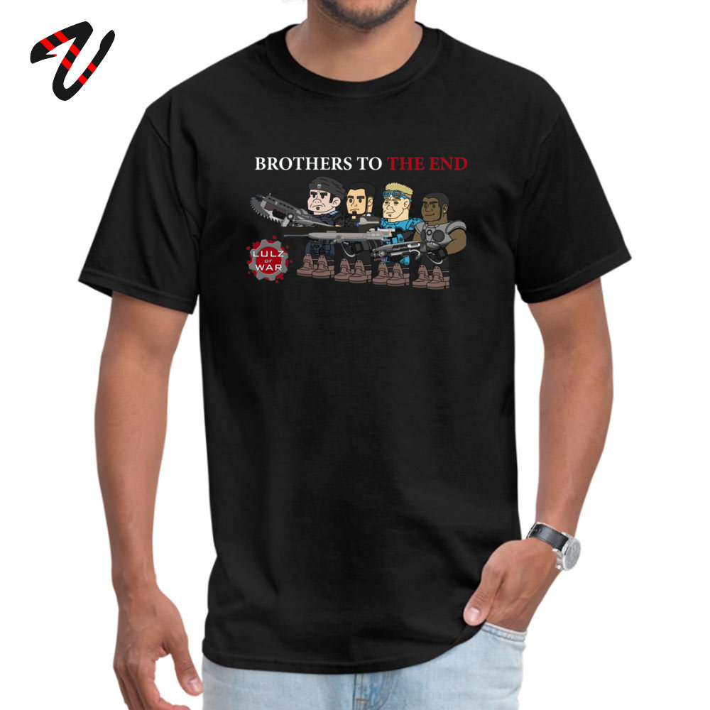 Plain Men T-Shirt Crewneck Short Sleeve Cotton Casual Tops Shirts Unique Top T-shirts Top Quality Lulz Of War Brothers to the end 684 black