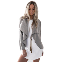 Women Crop Coat Jacket Outwear Grey Camel Solid Color Casual Coat Long Sleeve Turn Down Collar