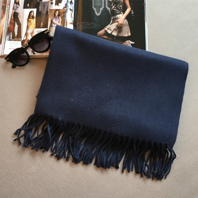 Automne hiver mode qualité femmes à franges châle épais Imitation cachemire  écharpe dame solide couleur chaud double usage foulard châle 3586942bcbb