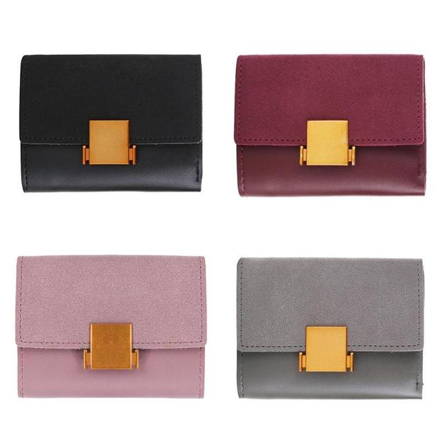 b5661e108ca Matte Leather Small Women Wallet Luxury Brand Famous Mini Womens Wallets  And Purses Short Female Coin Purse Credit Card Holder-in Wallets from  Luggage ...