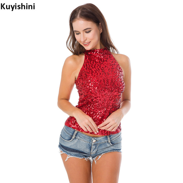 a110b4779822c9 Sexy Nightclub DJ Stage Costumes Halter Neck Sequin Party Top Vest Women T- Shirt Shimmer