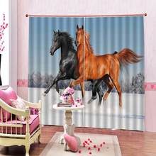 3D Curtain Luxury Blackout Window Curtain Living Room horse curtains Blackout curtain(China)