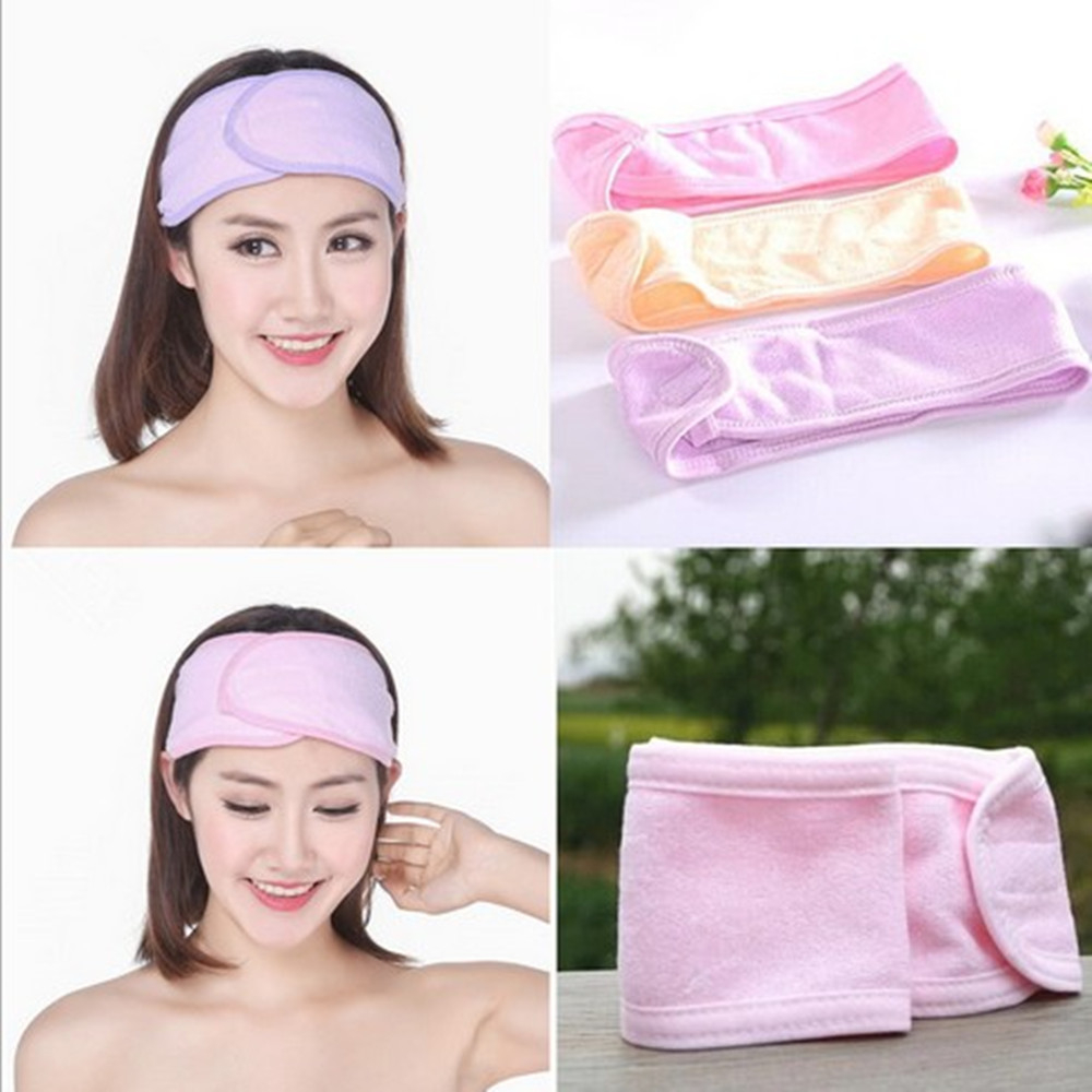 Kvinnors nya rosa spa-badkar Duschhuvudslitage Make Up Wash Face Kosmetiskt pannband Flickans mode Hair Band Accessories Sale