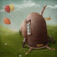 Laeacco Fairytale Snail House Balloons Scenery Photography Backgrounds Vinyl Backdrops Custom Backdrops Props For Photo Studio
