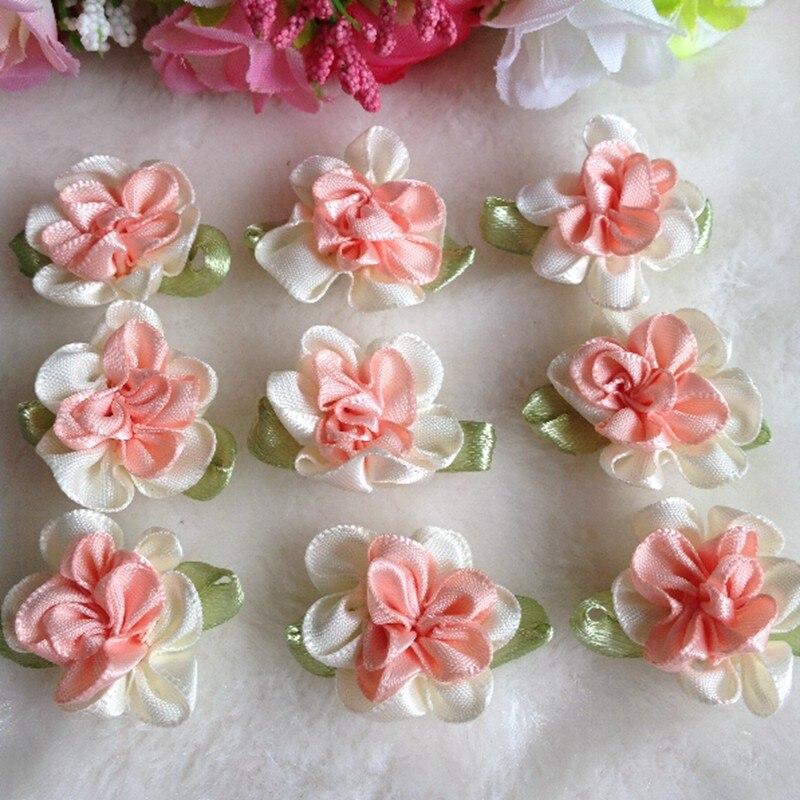 20PCS Bourgogne Handmade Stéréo Tissu Rose Fleurs Satin Rubans Rose Appliques