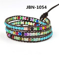 Novelty charms jewelry  semi precious stone  woven brown leather handmade bracelet  bangle  for girl JBN-1054
