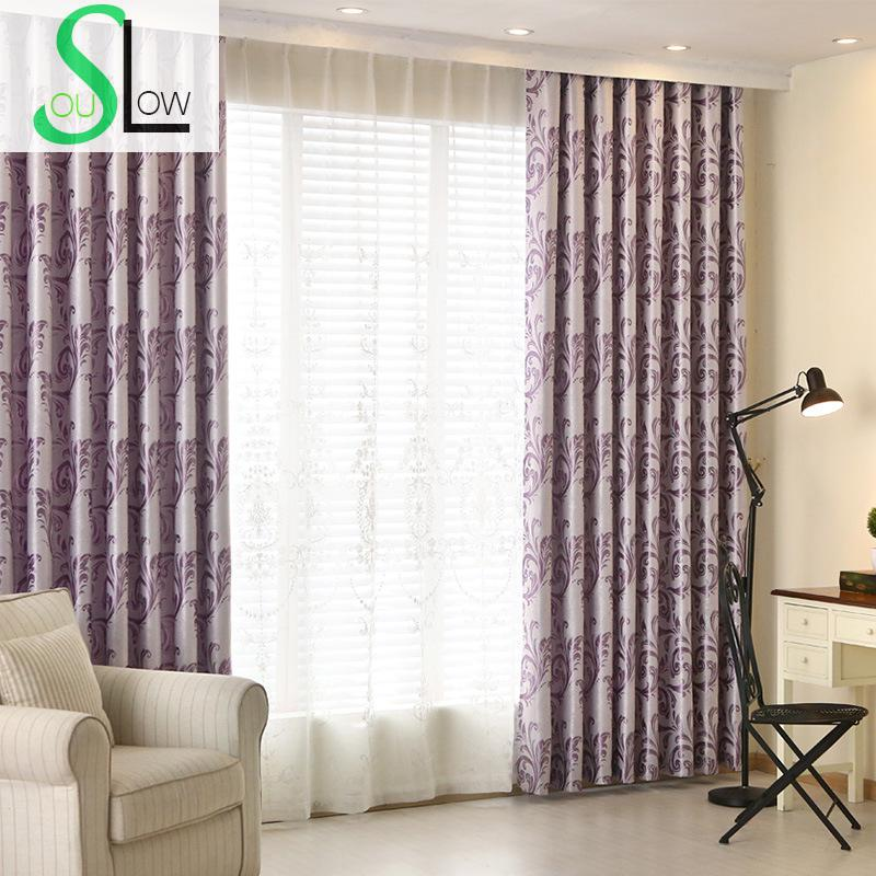 Slow Soul Red Purple Blue Jacquard Living Room Study Bedroom Curtain  Pleated Curtains For Cortinas Floral Kitchen Blackout  Blue Floral Curtains