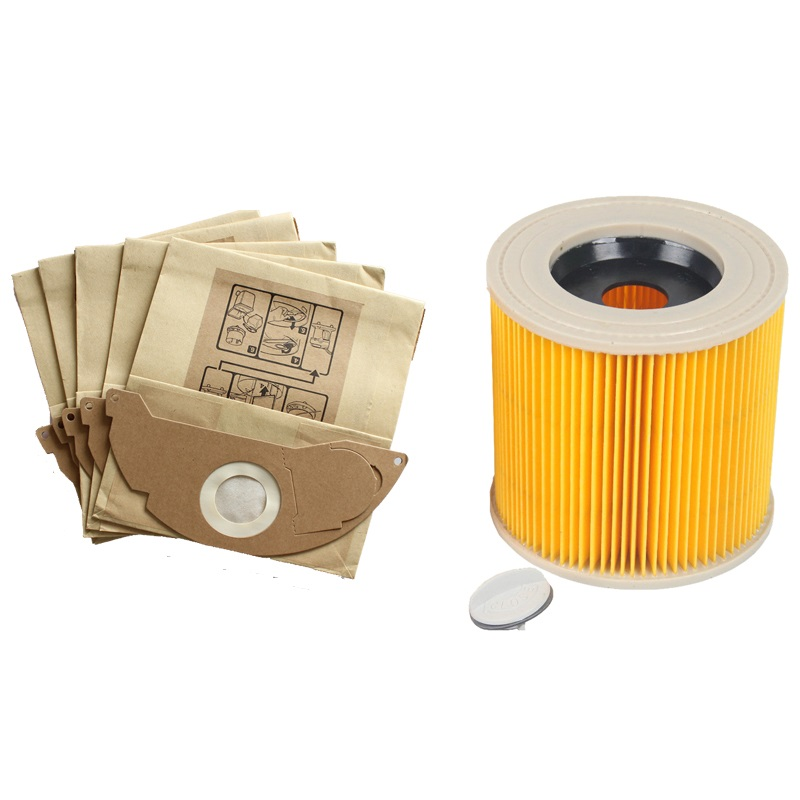 цена на 1Pcs dust Hepa filters+5Pcs paper dust bags for Karcher WD2.250 A2004 A2054 Vacuum Cleaners parts bags Cartridge HEPA Filter